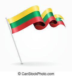 Lithuanian pin wavy flag. Vector illustration. - Lithuanian ...
