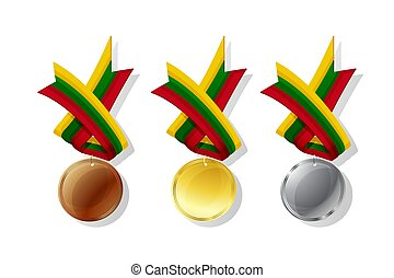 Lithuanian vector medals set - Lithuanian medals in gold, ...