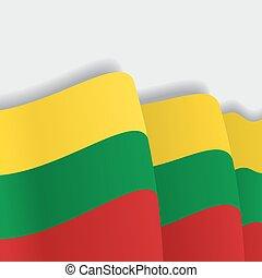 Lithuanian waving Flag. Vector illustration. - Lithuanian ...