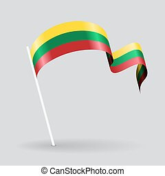 Lithuanian wavy flag. Vector illustration. - Lithuanian pin ...