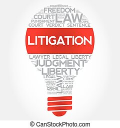 Litigation bulb word cloud concept