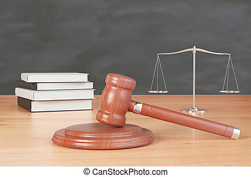 litigation inventory with gavel, books and scales on wooden table at blackboard background