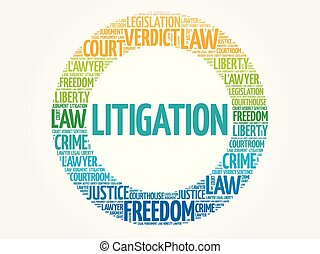 Litigation word cloud concept background