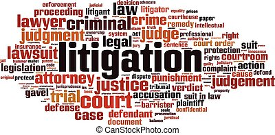 Litigation word cloud concept. Vector illustration