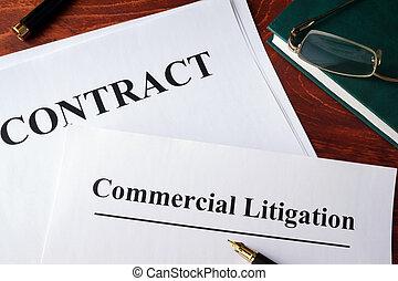 litige, commercial, formulaire, contrat