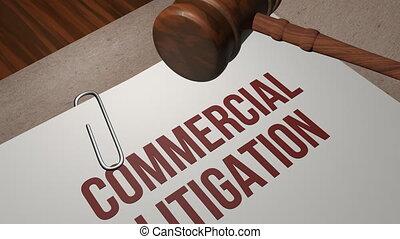 litige, concept, commercial, légal