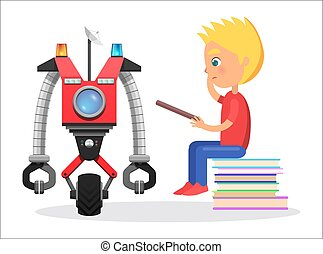 Litle Boy Sit with Direction to Robot Illustration