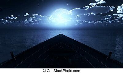 litle, entiers, bateau, lune