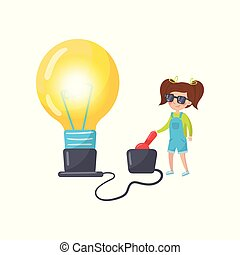 Litle girl doing physics experiment with electricity, preschool activities and early childhood education cartoon vector Illustration