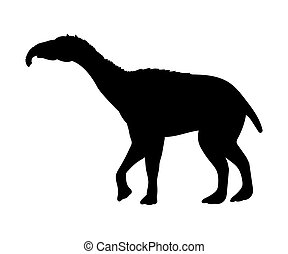 Litopterna silhouette extinct mammalian animal. Vector...