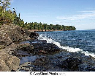 litoral, de, superior de lago