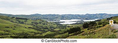 litoral, en, akaroa, en, nueva zelandia