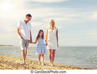 litoral, família, feliz