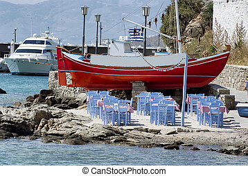 litoral, jantar, barra praia, restaurante, em, mykonos
