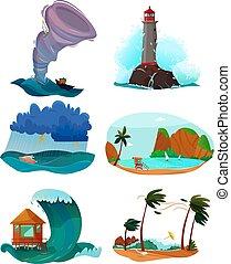 litoral, jogo, paisagens