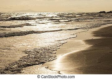 litoral, ligado, pôr do sol