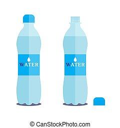 litre, vettore, aperto, acqua pura, fondo., 1, bottiglia, bianco, chiuso