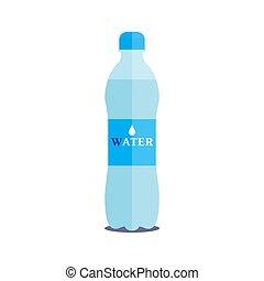 litre, vettore, bottiglia, acqua pura, 1, fondo, bianco