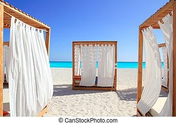 lits, antilles, gazebo, exotique, plage sable
