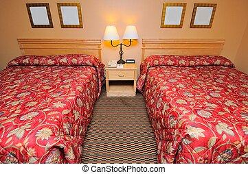 lits, bas, sommet, confortable, vue