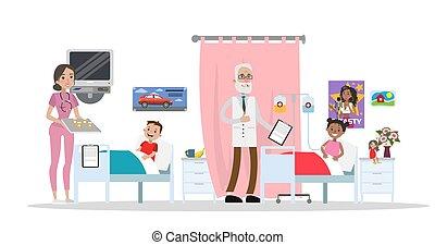lits, hôpital, enfants