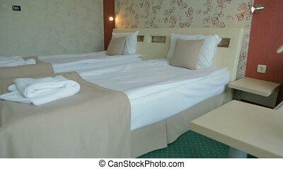 lits, hôtels, salle
