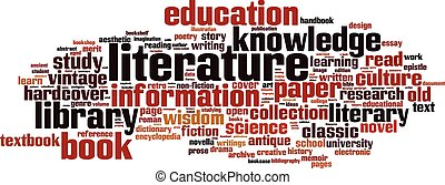 littérature, mot, nuage