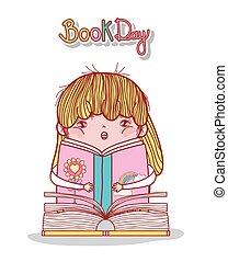 littérature, petite fille, livre, lecture, dessin animé