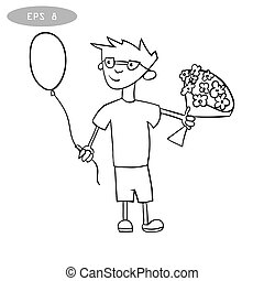 litte boy with balloon and bouquet of flowers