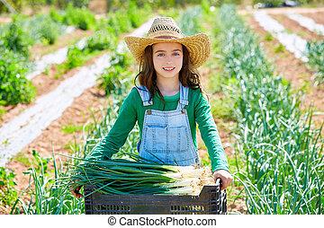 Litte kid farmer girl in onion harvest at orchard
