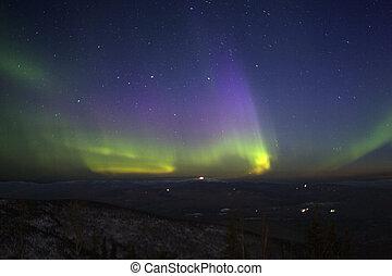 litted, purple-green-yellowish, 4 月, 星が多い, 地勢, 丘, moonlight., フェアバンクス, 空, ライト, 2006, 上に, 北, ak.