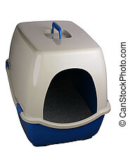Litter box-clipping path - A cat\\\'s litter box on white...