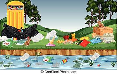 Litter in the park illustration