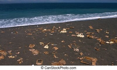 Scattered cardboard and other forms of litter, strewn along a stretch of tropical, volcanic, black sand beach in Bali, Indonesia. Video 4k