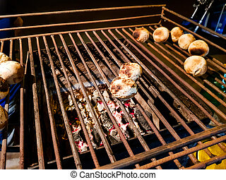 litti, グリル, 北, 石炭, 食物, ある, indian, 共通, 焼かれた, 側, 道