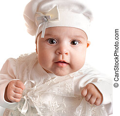 Little 3 months baby-girl dressed in white suit portrait