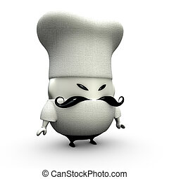 little 3d cartoon cook chef on a white background