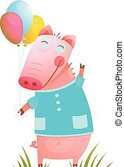 Little Adorable Baby Pig with Balloons for Kids - Pig...