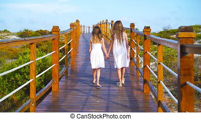 Little adorable girls on a wooden bridge on their way to a...
