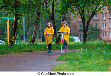 Little adorable girls riding on scooters in autumn park outdoors