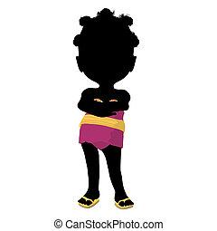Little African American Asian Girl Silhouette Illustration -...
