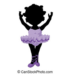 Little African American Ballerina Girl Illustration...