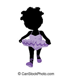 Little African American Ballerina Girl Illustration Silhouette