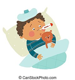 Little African American boy ill in bed with thermometer and hugging teddy bear. Cartoon vector hand drawn eps 10 illustration isolated on white background in a flat style.