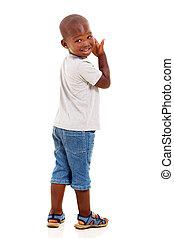 little african american boy looking back - cute little...