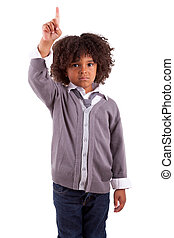 Little african american boy with finger up