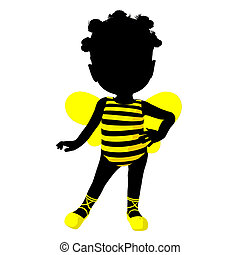Little African American Bumble Bee Girl Illustration...