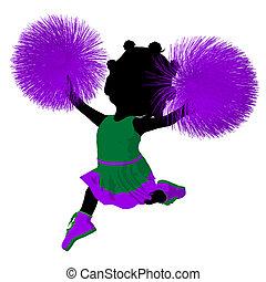 Little African American Cheer Girl Illustration Silhouette -...
