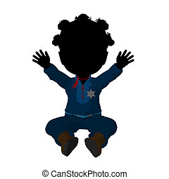 Little African American Cow Girl Illustration - Little...