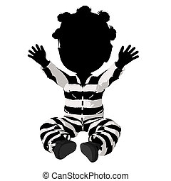 Little African American Criminal Girl Illustration - Little...